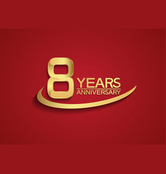 8 years anniversary logo style with swoosh golden vector