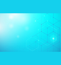 abstract blue geometric hexagons background vector image