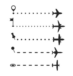 Airplane flight path brash set vector