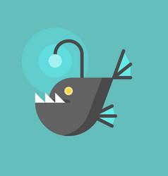 Angler fish icon flat design trap concept vector
