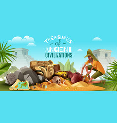 Archeology ancient treasures background vector