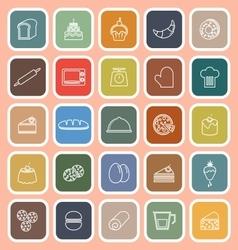 Bakery line flat icons on orange background vector image vector image