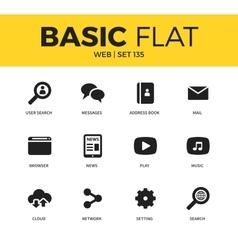 Basic set web icons vector
