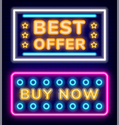 best offer on goods buy now products neon board vector image