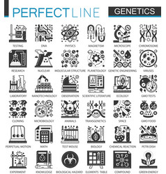 Biochemistry genetics black mini concept icons and vector