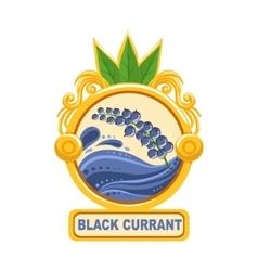 Black currant bright color jam label sticker vector