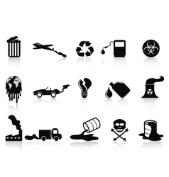 black pollution icons set vector image