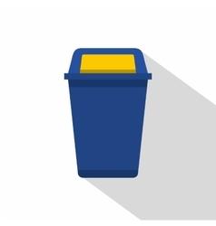 Blue plastic wastebasket icon flat style vector image