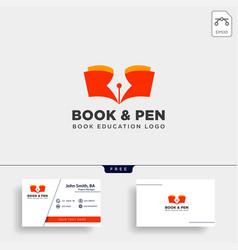 Book pen or writer simple logo template icon vector