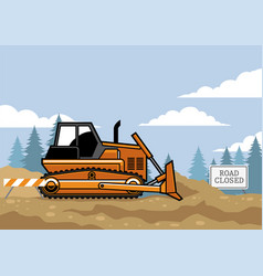 Bulldozer flat style on the site vector