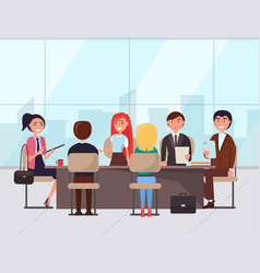 Business conference people table with notes vector