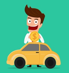 Businessman putting coin inside the car vector image