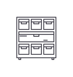 cabinet with documents line icon concept cabinet vector image