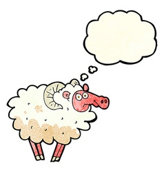 Cartoon dirty sheep with thought bubble vector