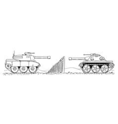 Cartoon drawing of two enemy tanks defending vector