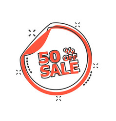 Cartoon sale sticker 50 percent off icon in comic vector