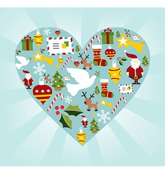 Christmas icon set in heart shape vector image