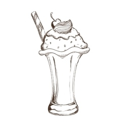 Cup of ice cream sketch icon Dessert and sweet vector
