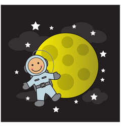 Cute baby astronaut and moon vector