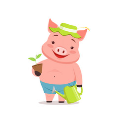 Cute pig gardener standing with watering can and vector