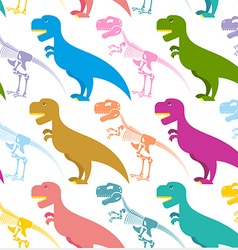 Dinosaur and skeleton seamless pattern vector image