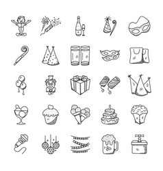 Doodle icons pack celebration and party vector