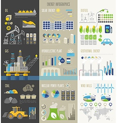 Energy and ecology Infographics with charts vector