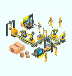 factory isometric industrial machinery production vector image