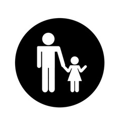 Father figure with daughter silhouette isolated vector
