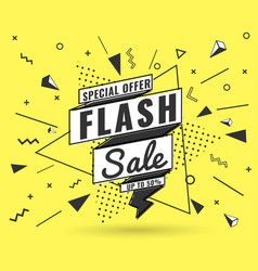 flash sale banner memphis style with geometric vector image