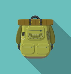 flat design modern tourist backpack icon vector image