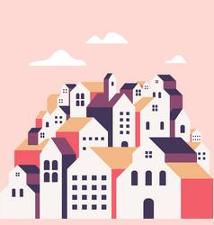 flat geometric buildings minimal city landscape vector image