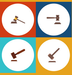 Flat icon hammer set of legal justice tribunal vector