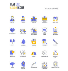 Flat line multicolor icons design-healthcare and vector