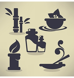 Flat spa icons vector