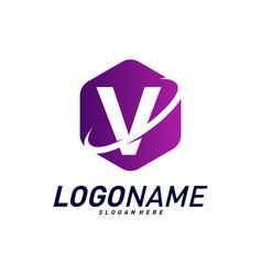 Font with planet logo design concepts letter v vector