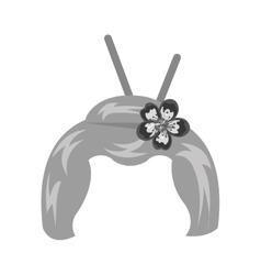 geisha wig hair style icon vector image