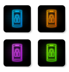 glowing neon smartphone with closed padlock icon vector image