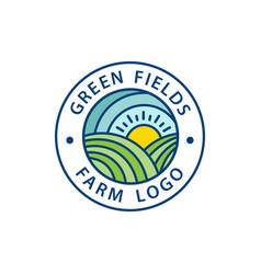 green farm logos emblem vector image