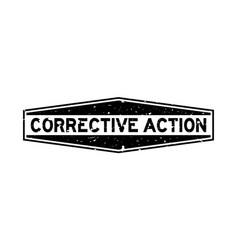Grunge black corrective action word hexagon vector
