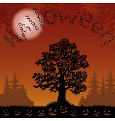 Halloween landscape with bats trees and pumpkins vector
