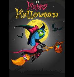 halloween postcard with cute witch flying on her vector image