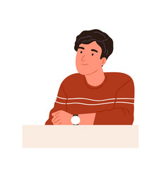 Happy curious person with interested face looking vector