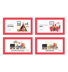 happy family sparetime landing page template set vector image