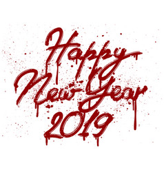 happy new 2019 year greetings card hand vector image