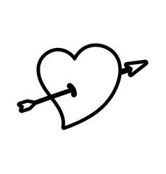 Happy valentines day cute heart pierced arrow vector
