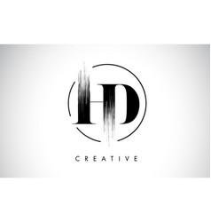 Hd brush stroke letter logo design black paint vector