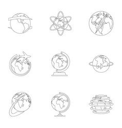 Home world icons set outline style vector