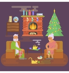 House Christmas room interior vector image