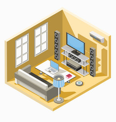 Isometric design of a living room with a vector